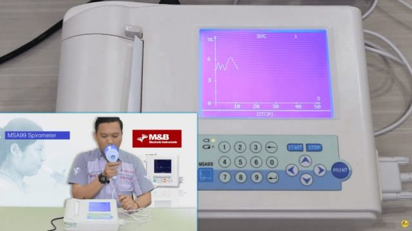 Spirometer adalah alat yang digunakan untuk mengukur seberapa baik fungsi paru - paru pasien dan dapat mencatat serta menampilkannya dalam bentuk grafik.